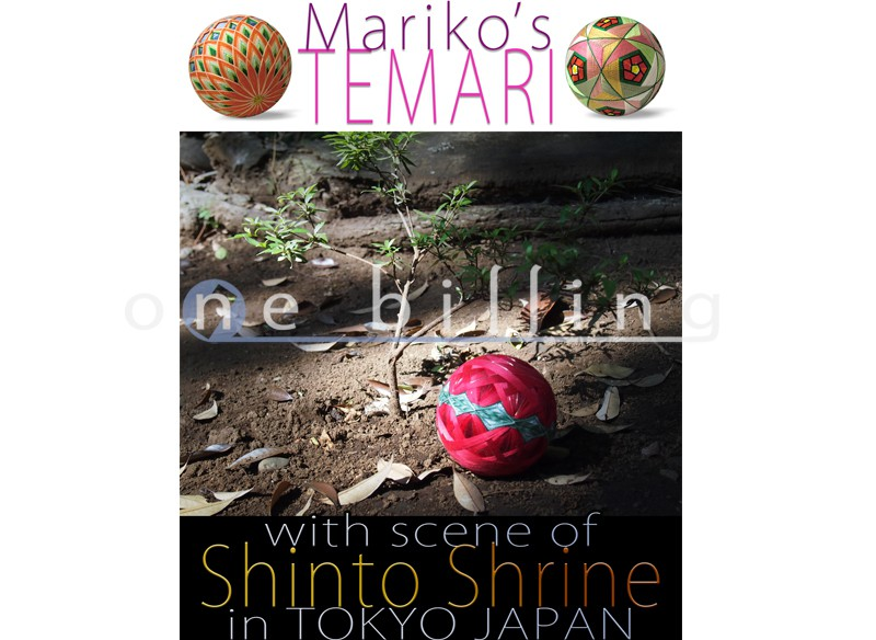 Mariko's TEMARI with scene of Shinto Shrine in TOKYO